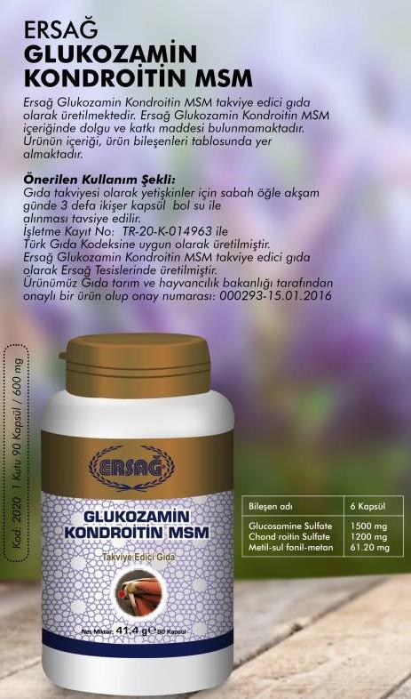 Glukozamin (Ürün Kodu: 2020) Satış Fiyatı:163,25₺ /-/ Üye Fiyatı:130,60₺