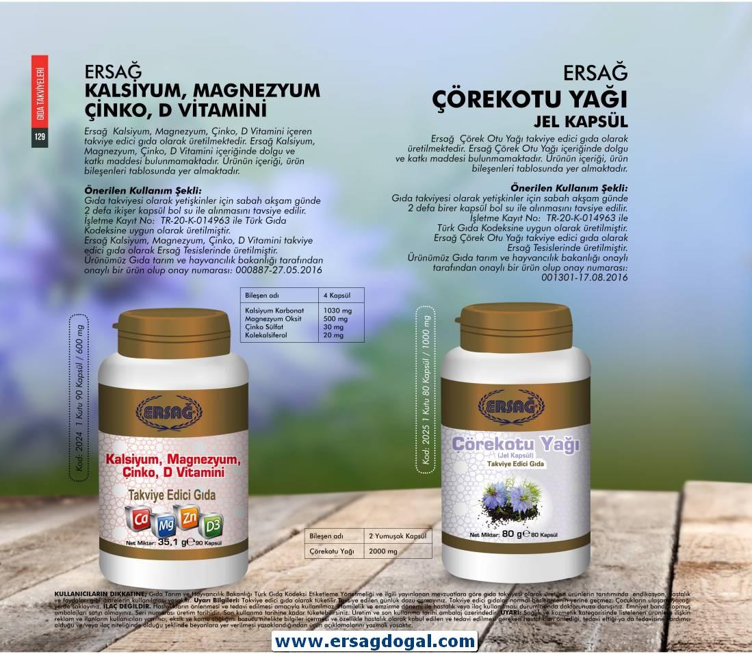Kalsiyum, Magnezyum, Çinko, D-Vitamini (Ürün Kodu: 2024) Satış Fiyatı:93,73₺ /-/ Üye Fiyatı:74,98₺ --- Çörek Otu Yağı (Ürün Kodu: 2025) Satış Fiyatı:96,30₺ /-/ Üye Fiyatı:77,04₺